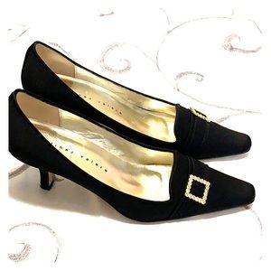 Martinez Valero Satin Studded Buckle Kitten Heels